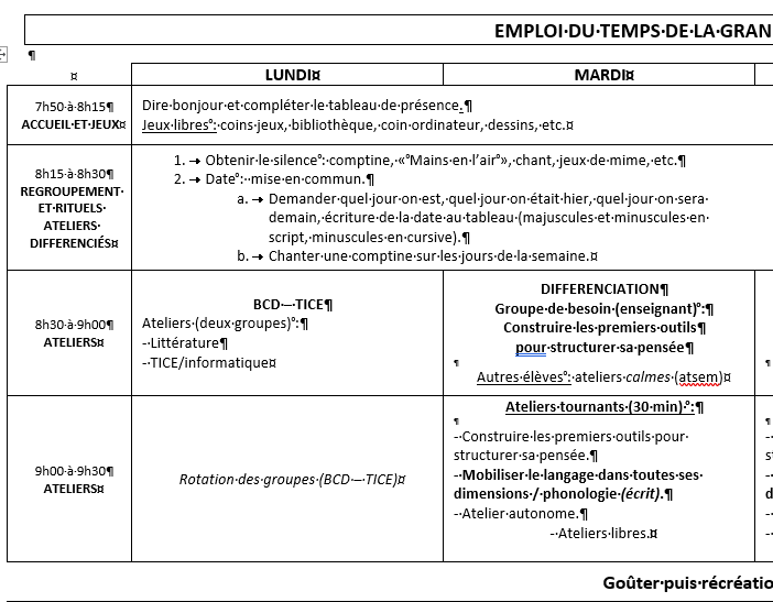 Emploi du temps grande section - 2019-2020
