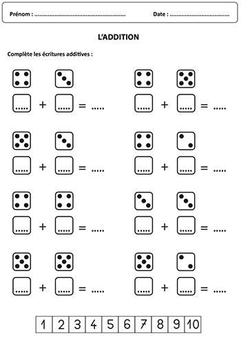 Compléter des écritures additives - effectuer des additions jusqu'à 10