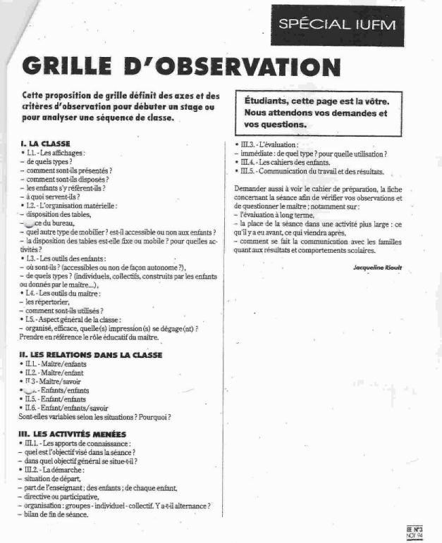 Grille observation stage questions et discussions - Grille d observation comportement ...