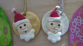 Tête de père Noël en porcelaine froide