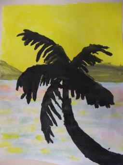 paysage palmier   aquarelle Et acry