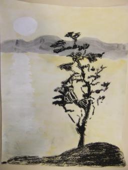 aquarelle reflet De lune   craie grasse arbre