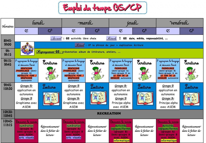 foto de Gs cp sans atsem recherche d'emploi du temps Organiser préparer et gérer une classe en