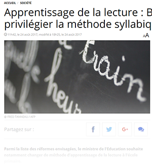 Jean-Michel Blanquer veut revenir à la méthode syllabique
