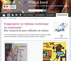 Prim à bord : S'approprier un tableau numérique en maternelle