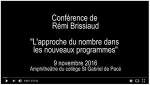 Conférence Rémi BRISSIAUD : l'approche du nombre dans les nouveaux programmes