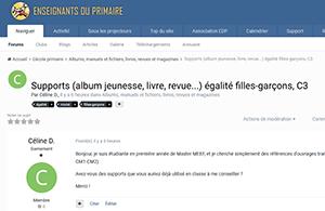 Supports (album jeunesse, livre, revue...) égalité filles-garçons, C3