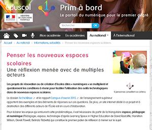 Eduscol (Prim à bord) : Penser les nouveaux espaces scolaires