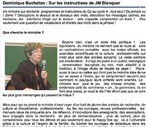 Dominique Bucheton : Sur les instructions de JM Blanquer