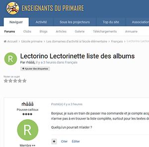 Lectorino Lectorinette liste des albums
