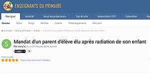 Mandat d'un parent d'élève élu après radiation de son enfant