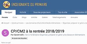 CP/CM2 à la rentrée 2018/2019
