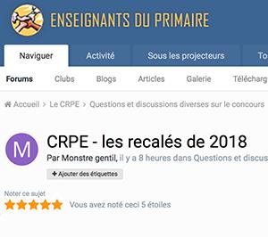 CRPE - les recalés de 2018
