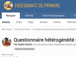 Questionnaire hétérogénéité (destiné aux enseignants du cycle 2)
