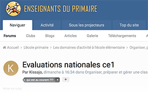 Evaluations nationales ce1