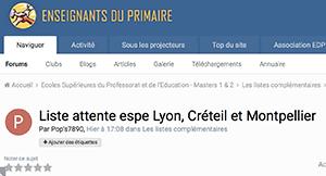 Liste attente espe Lyon, Créteil et Montpellier
