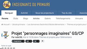 """Projet """"personnages imaginaires"""" GS/CP"""