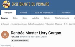 Rentrée Master Livry Gargan