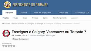 Enseigner à Calgary, Vancouver ou Toronto ?