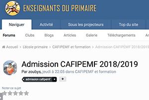 Admission CAFIPEMF 2018/2019