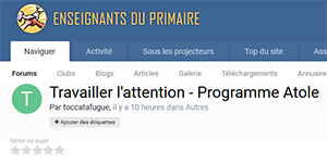 Travailler l'attention - Programme Atole