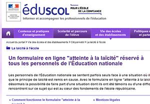 """Formulaire en ligne """"atteinte à la laïcité"""" réservé à tous les personnels de l'Éducation nationale"""