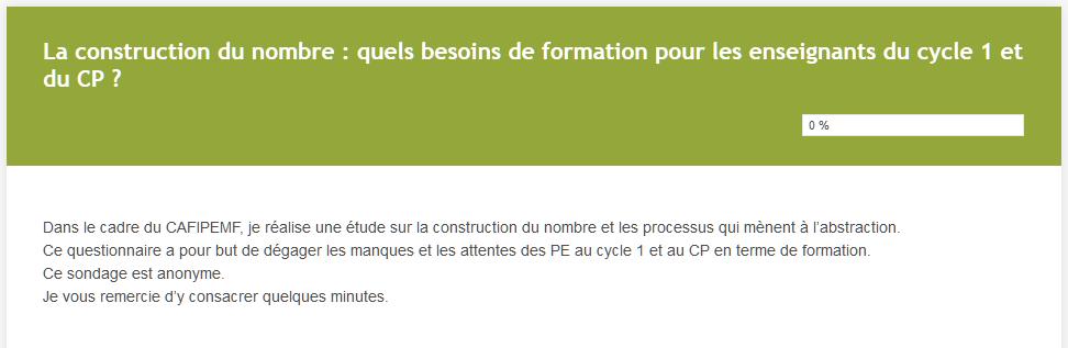 Questionnaire sur la construction du nombre