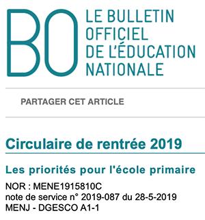 Circulaire de rentrée 2019