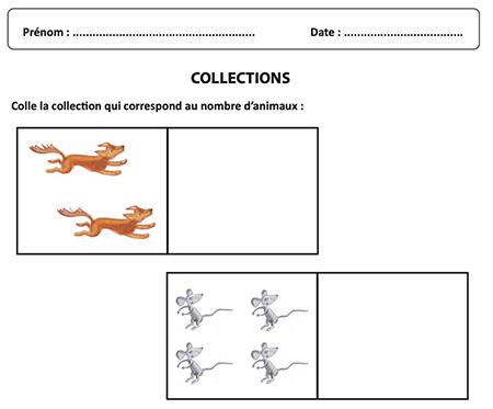 Coller la collection qui correspond au nombre d'animaux